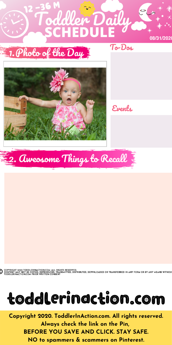 Simple Daily Toddler Schedule Pink Things to Remember