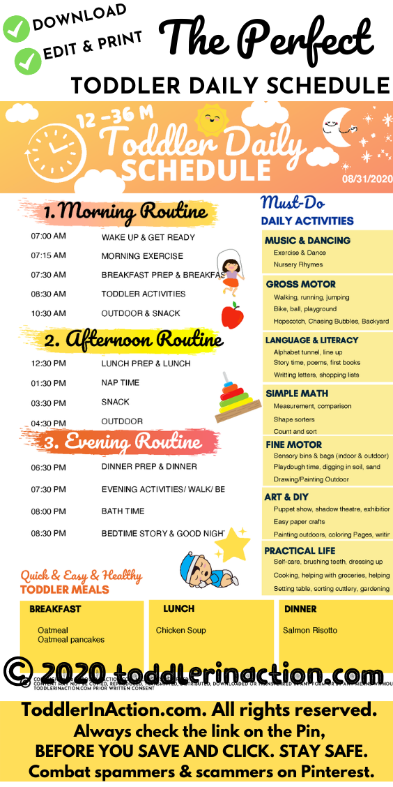Super simple DAILY TODDLER SCHEDULE Yellow Editable Printable
