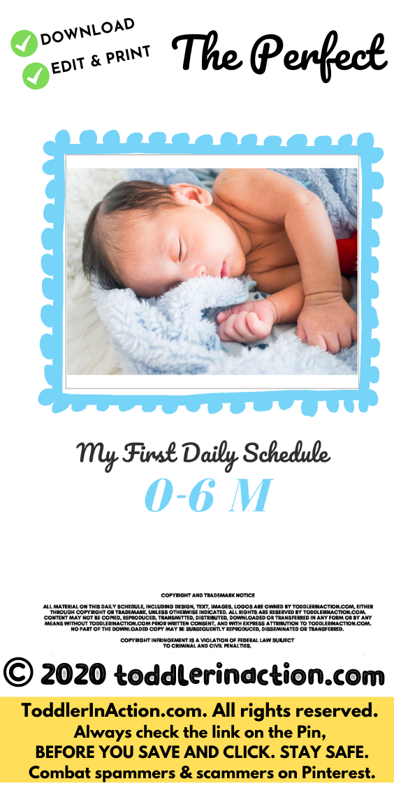 Super simple DAILY BABY SCHEDULE 0-6 months Blue Editable Printable