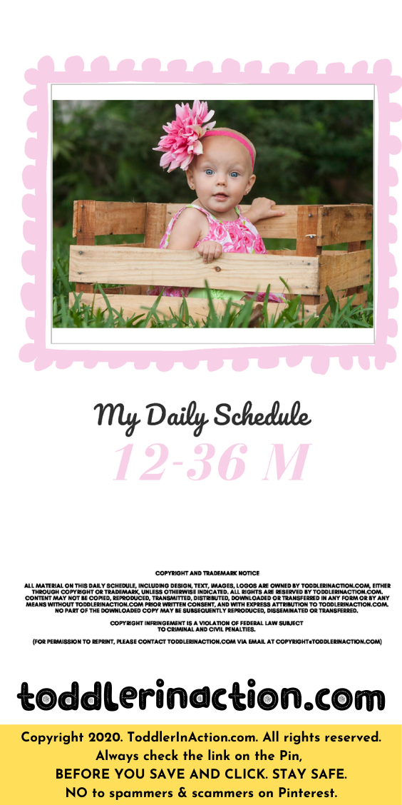 Simple Daily Toddler Schedule Pink Cover