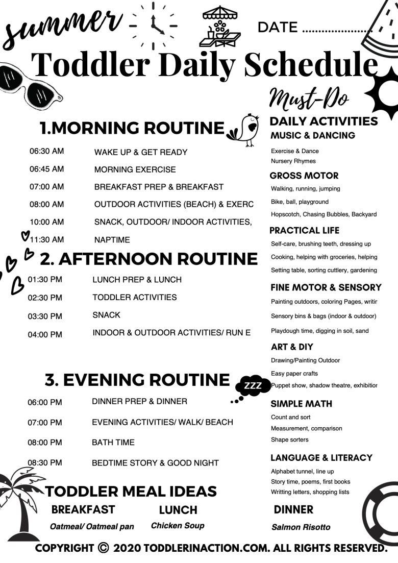 BW Summer Daily Toddler Schedule