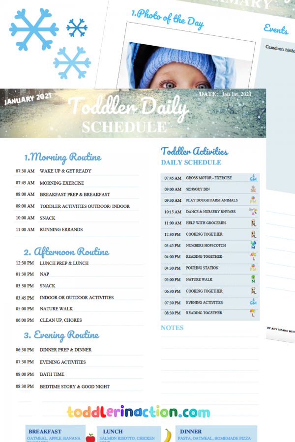 DAILY TODDLER SCHEDULE 3 Months Editable Printable
