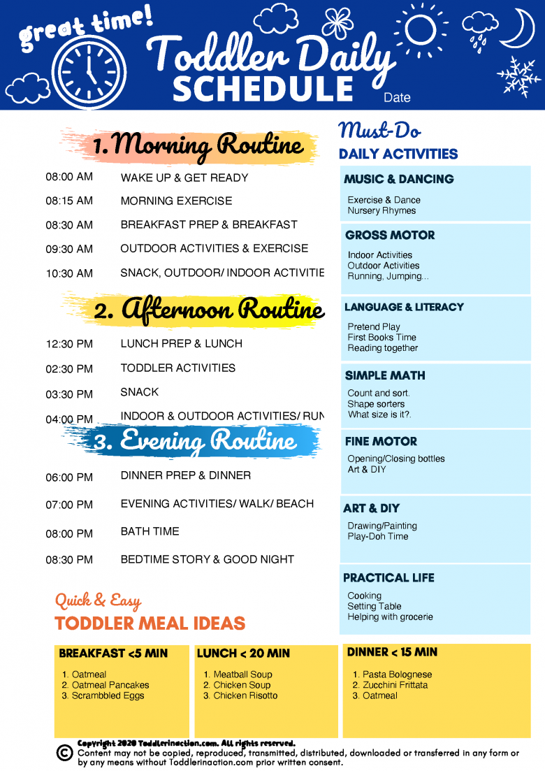 One Page Daily Toddler Schedule