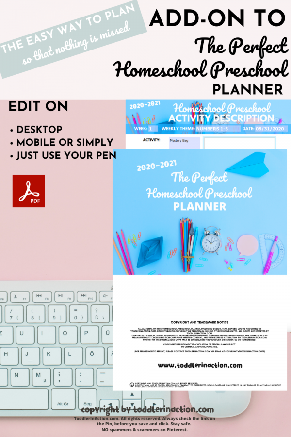 ADD-ON Homeschool Preschool Planner