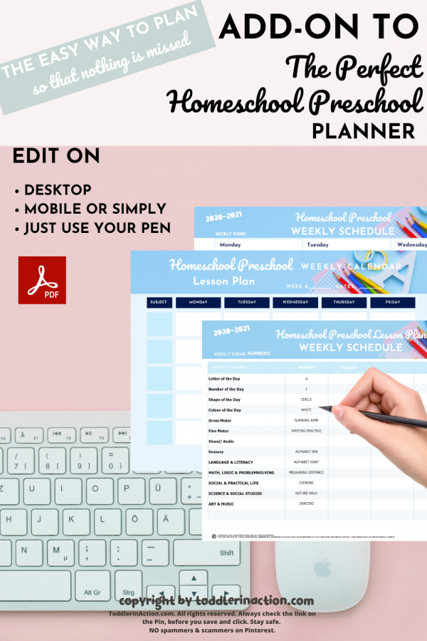 ADD-ON Homeschool Preschool Planner