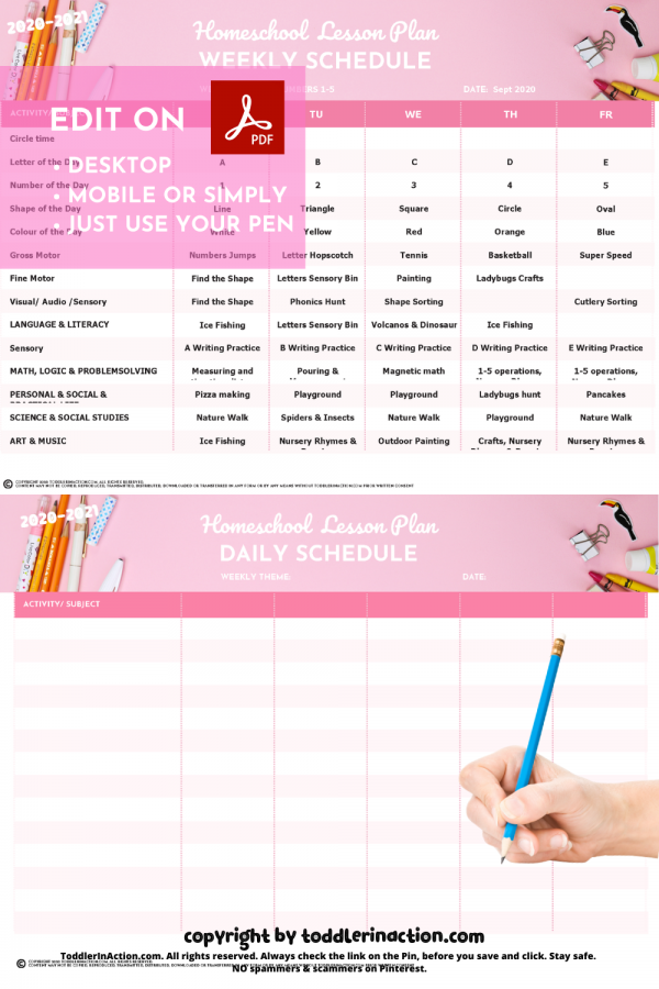 Homeschool Preschool Weekly Schedule Pink
