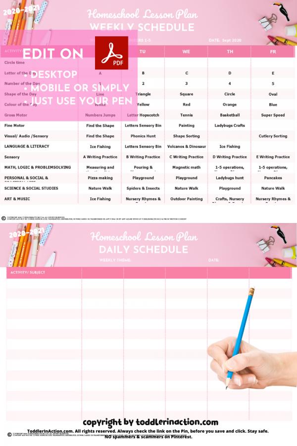 Homeschool Preschool Weekly Schedule Pink