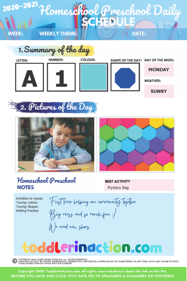 DAILY HOMESCHOOL PRESCHOOL PLANNER8