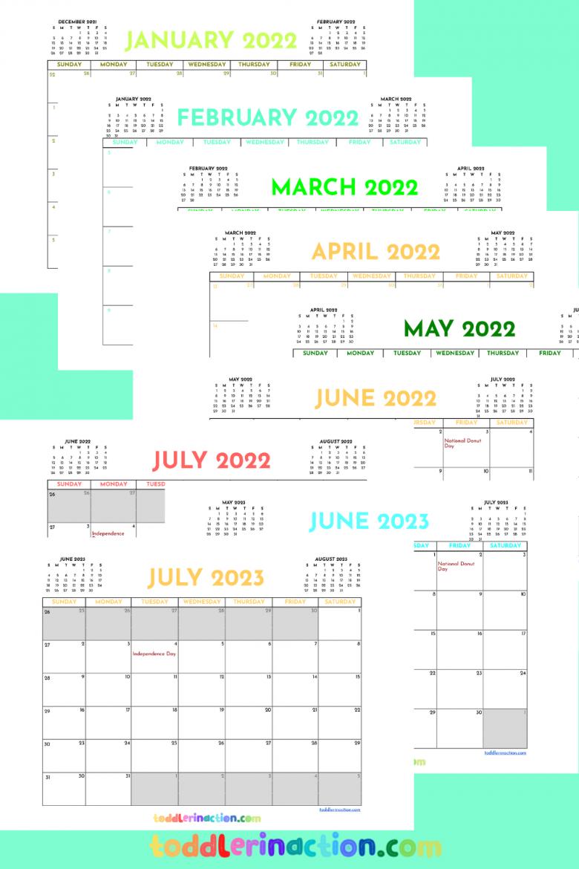 monthly calendar 2021 2023